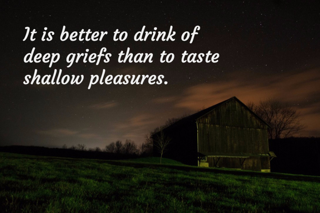 It is better to drink of deep griefs than to taste shallow pleasures.