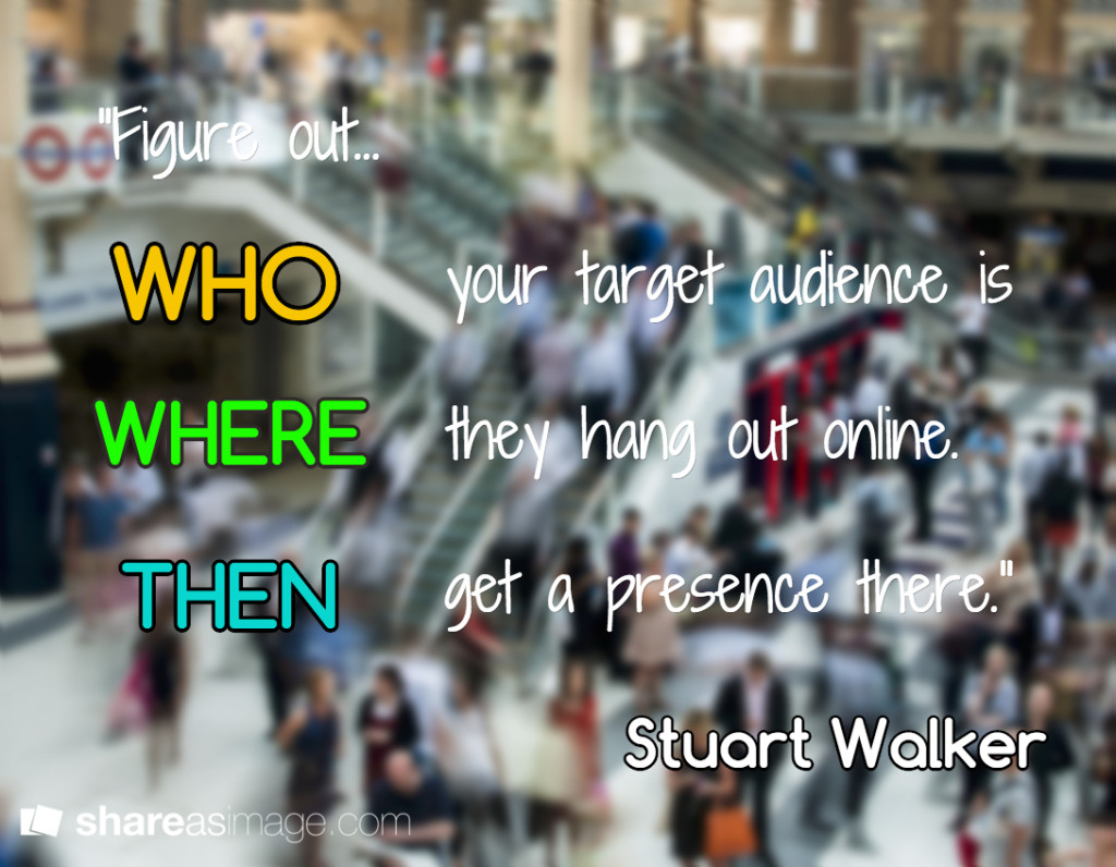 figure out who your target audience is, where they hang out online, then get a presence there