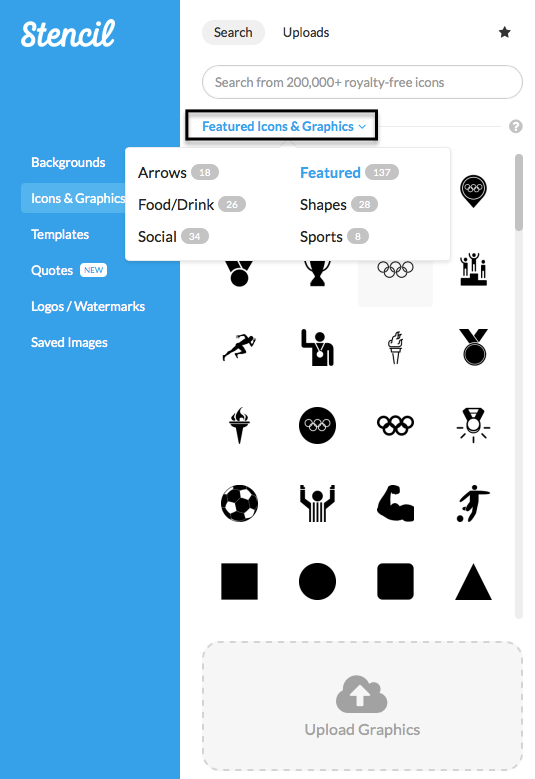 Find categories of icons in Stencil