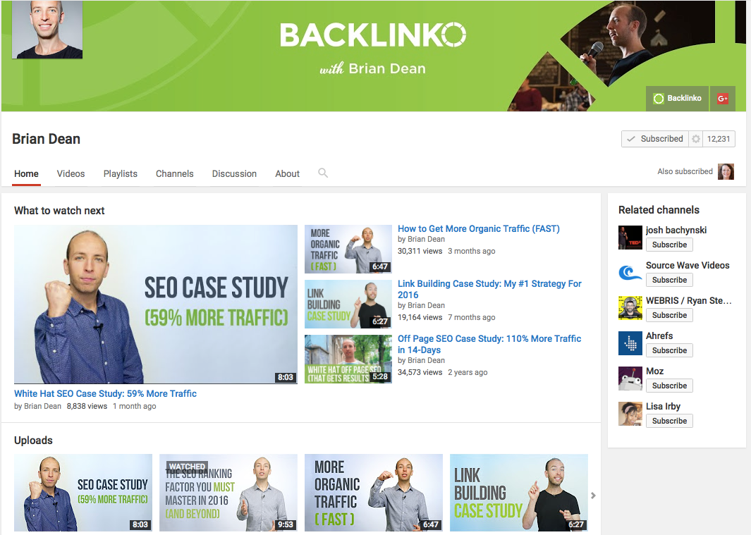 Backlinks with Brian Dean for YouTube thumbnails.