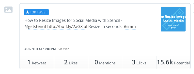 Check top tweets in Buffer analytics.