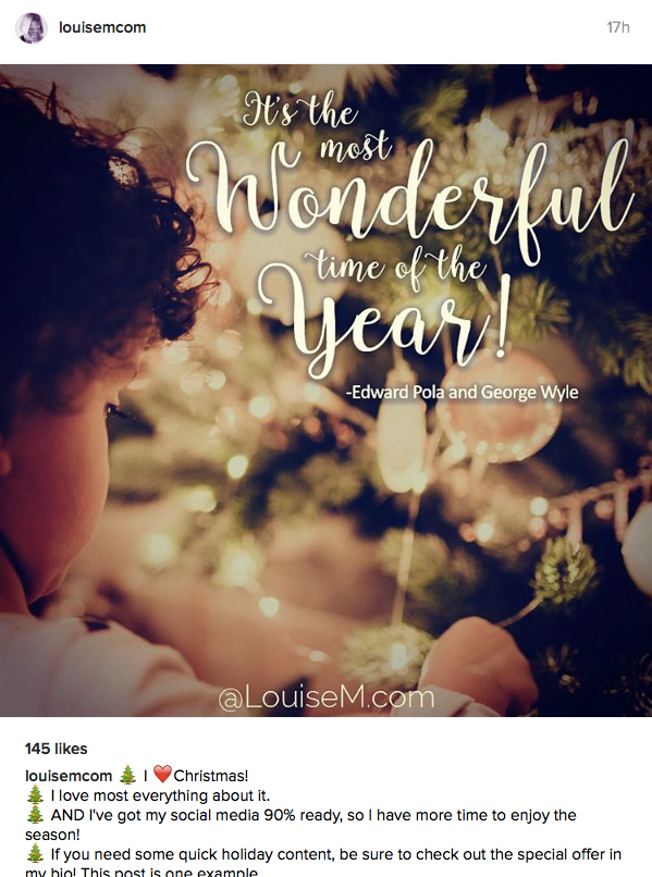 LouiseM.com Instagram holiday image