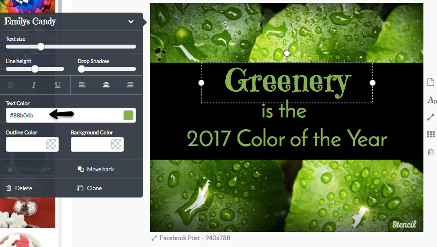 Type in html code for text color