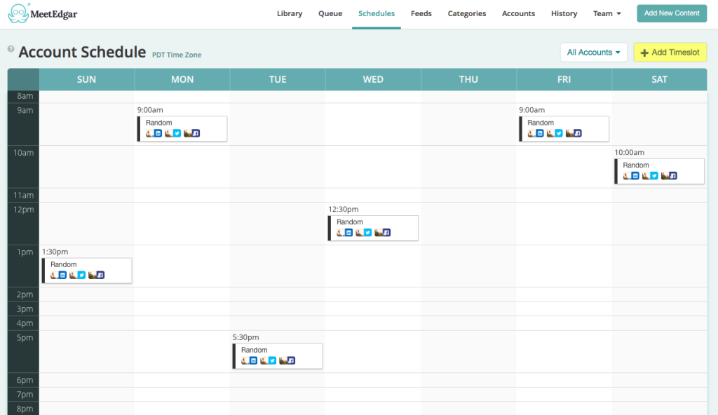 Schedule in Edgar with categories for a library of content.
