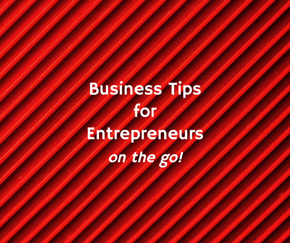 Business Tips for Entrepreneurs on the go with red pattern background.