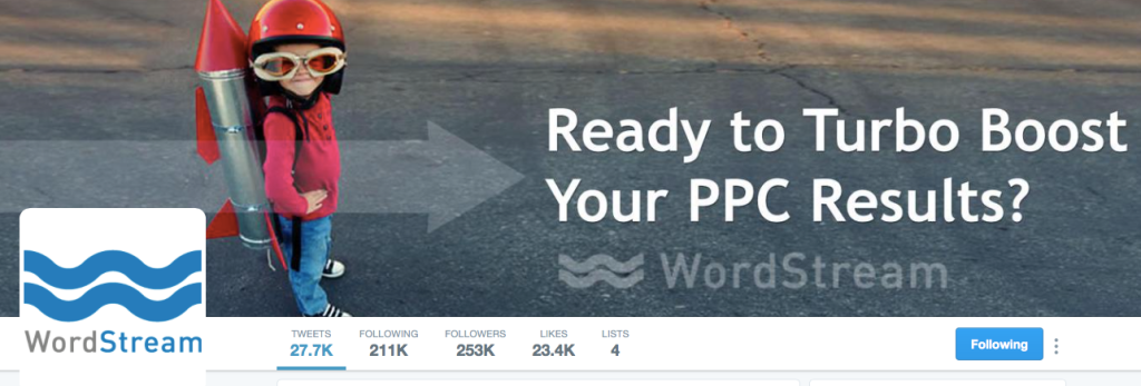 Wordstream Twitter account
