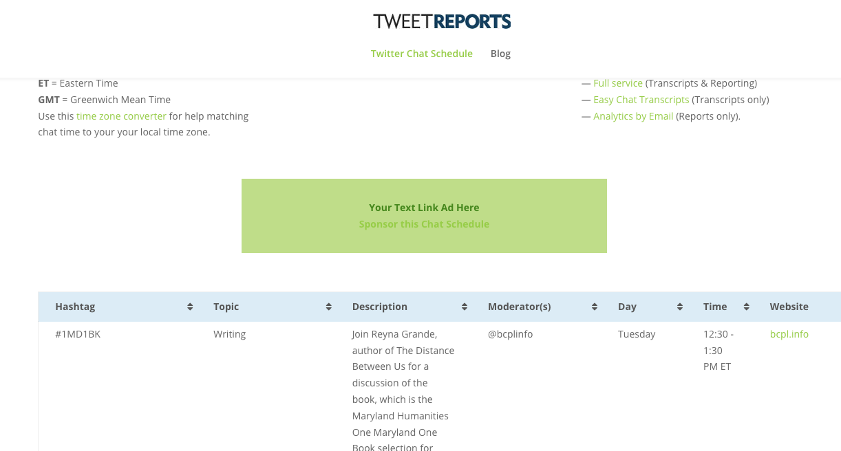 Tweet Reports Chat Schedule