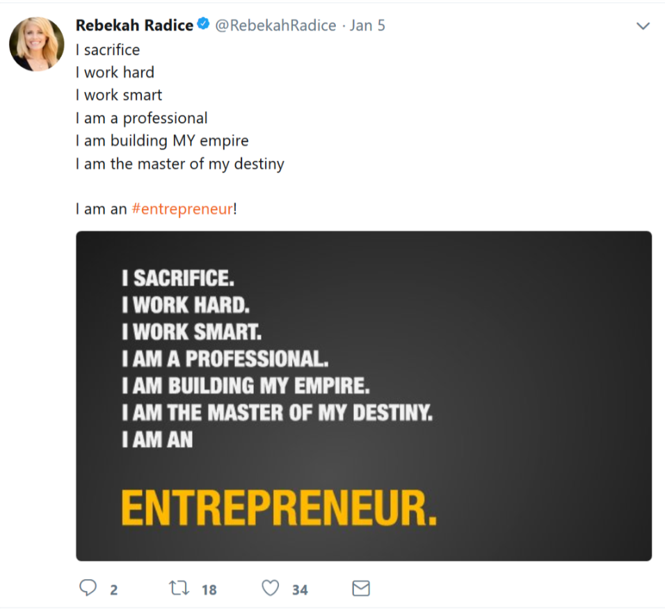 Rebekah Radice's entrepreneur tweet