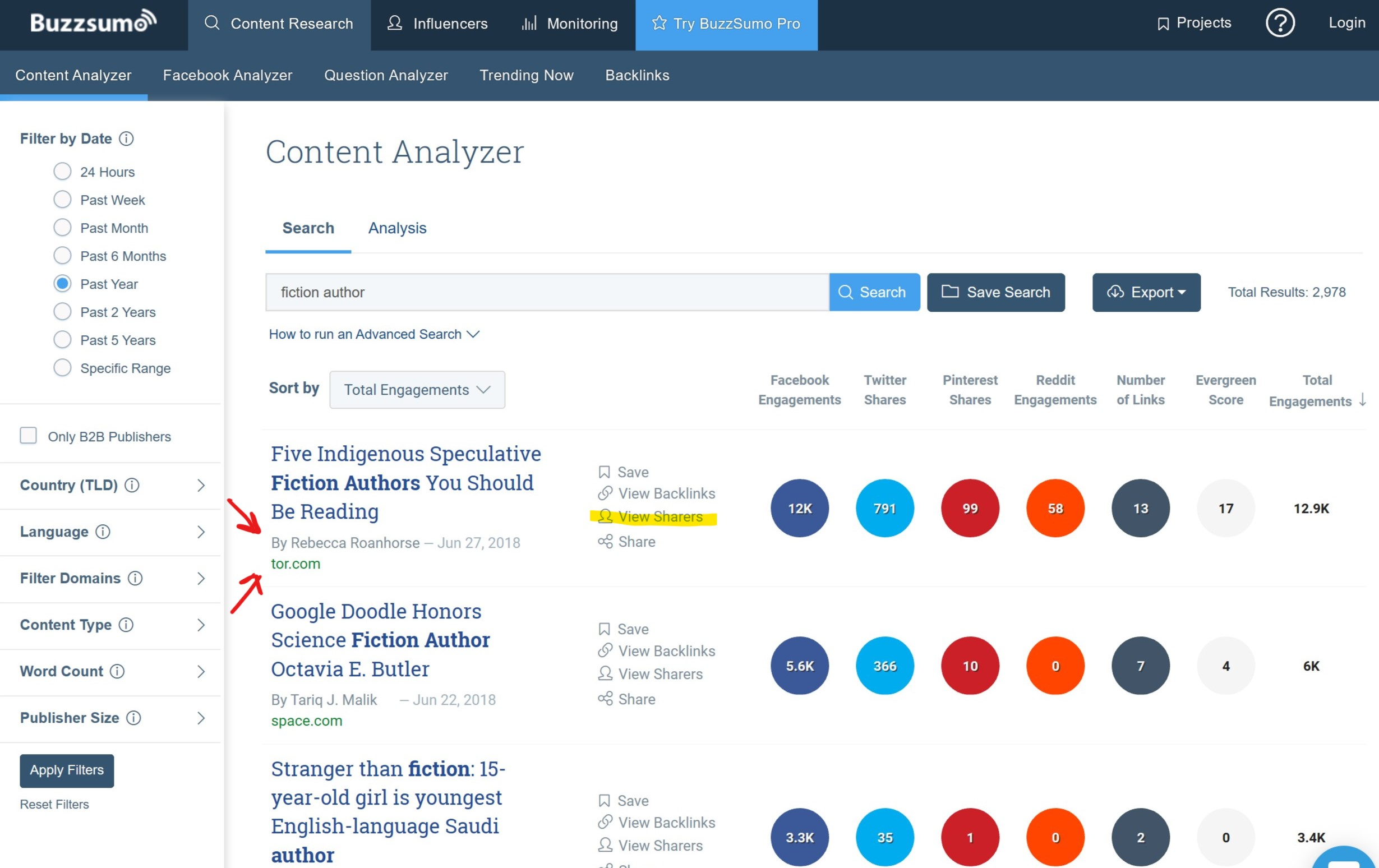 Fiction Author search on Buzzsumo