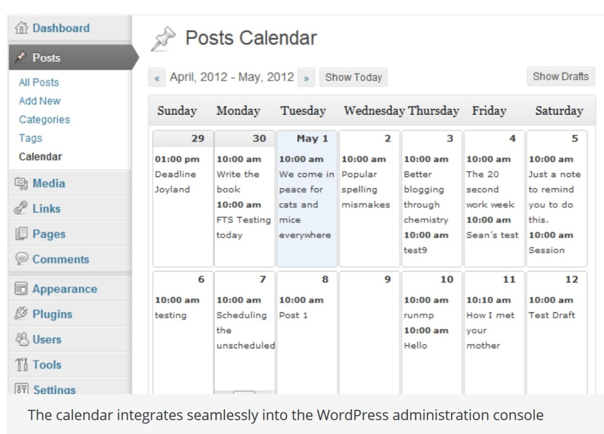 Posts Calendar with Editorial Calendar plugin