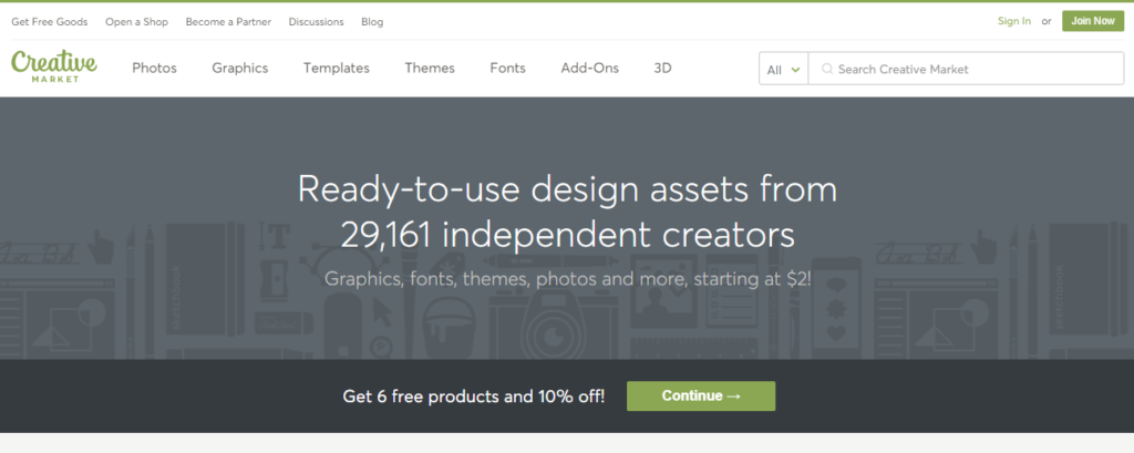 use creative market to find affordable design assets