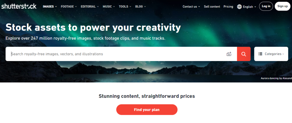 use shutterstock to find stock photos in bulk