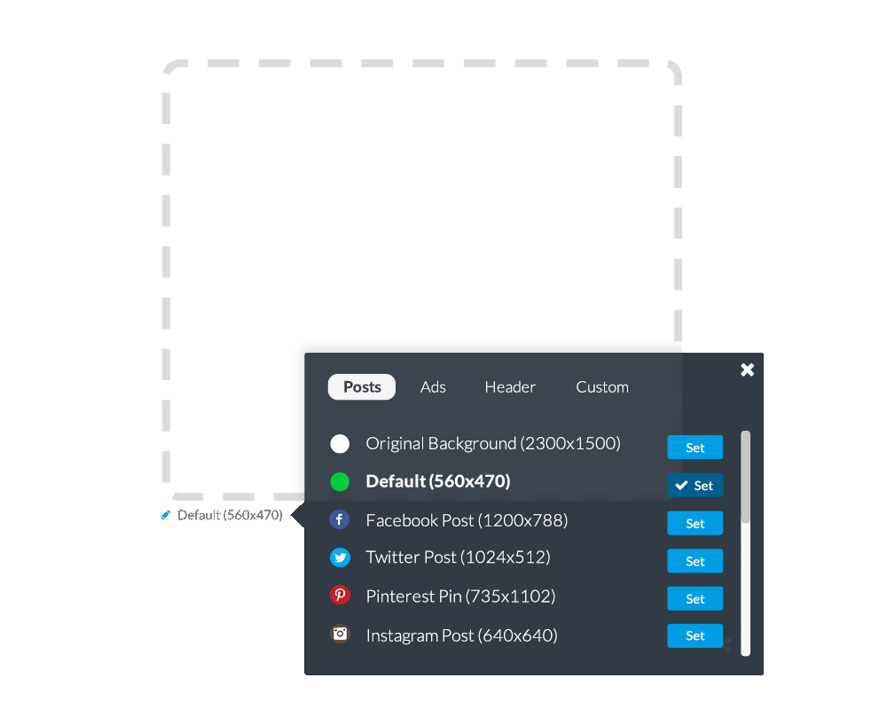 Canvas size switcher