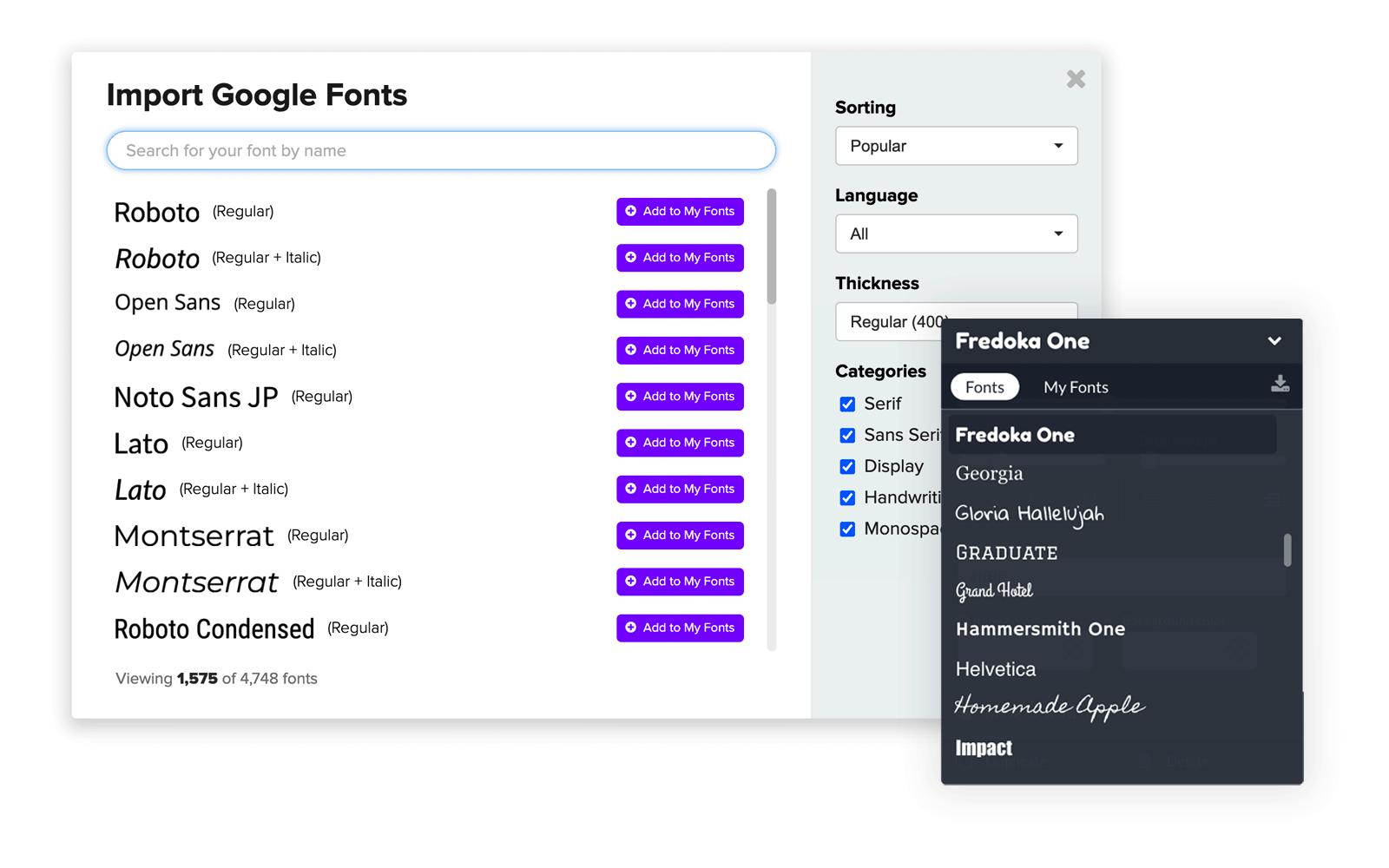 Import Google Fonts