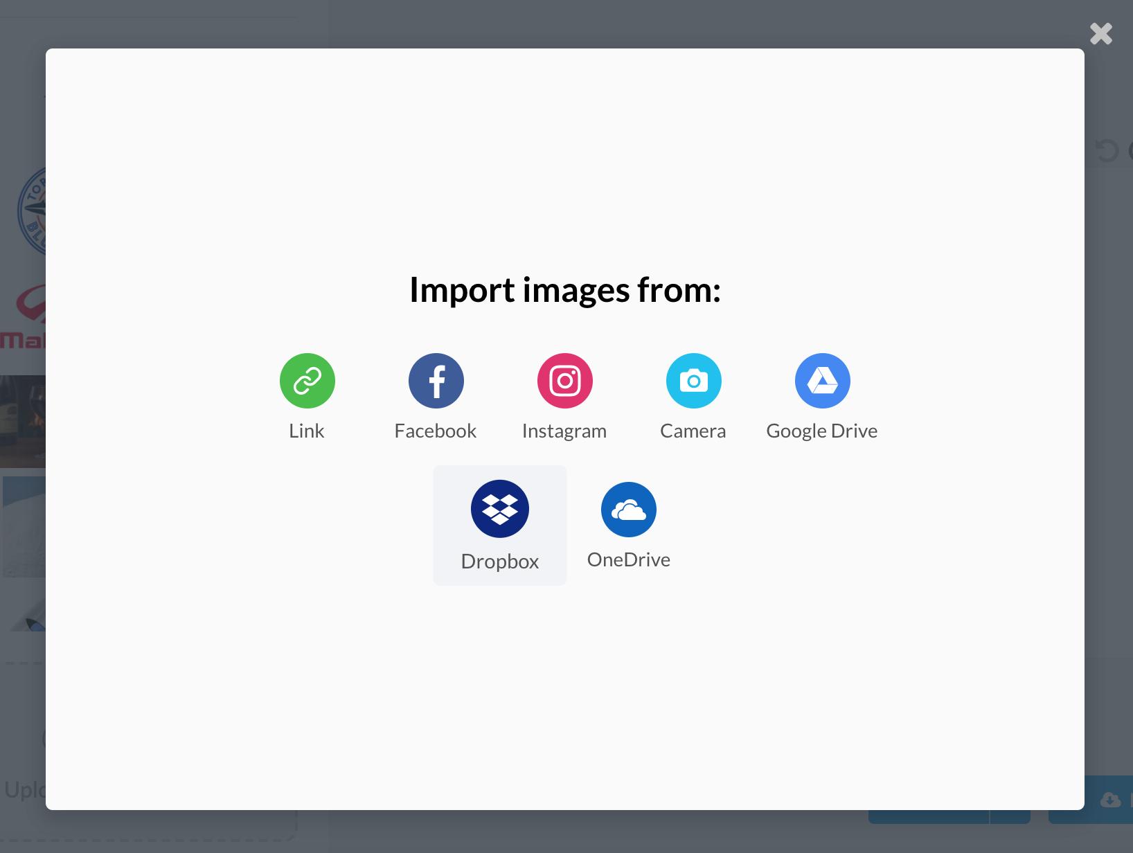 Choose the Dropbox Importer