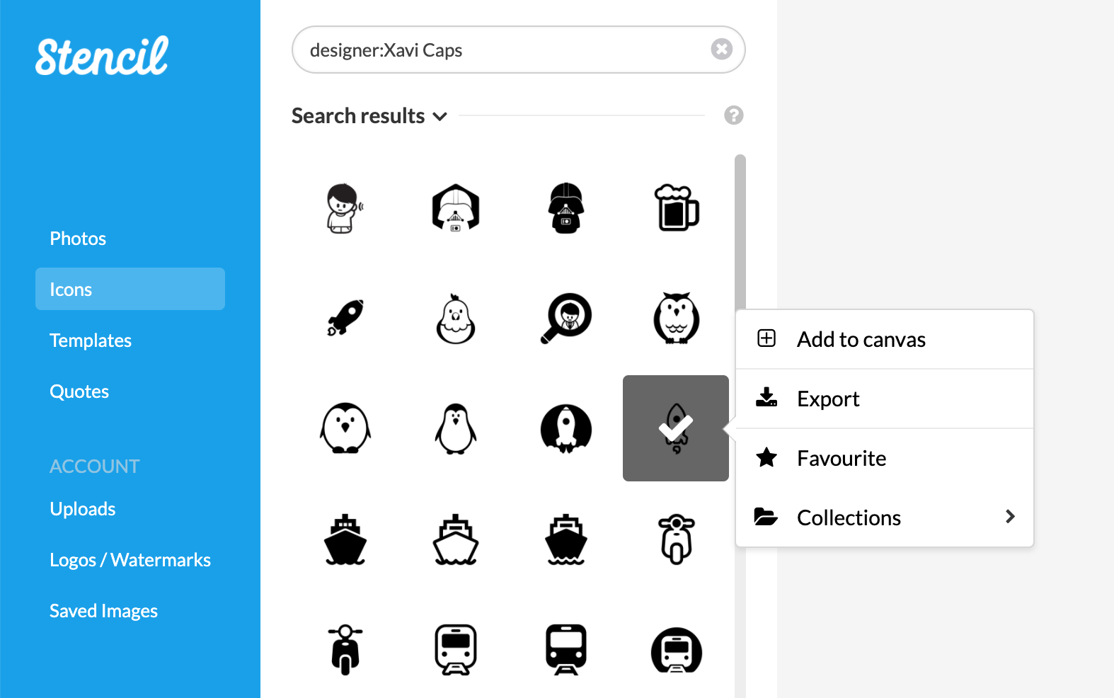 Sample The Noun Project Designer Search
